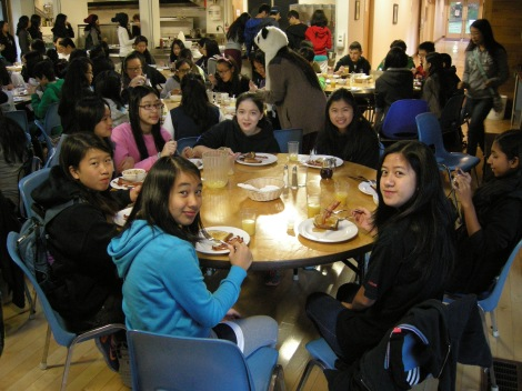 While students enjoy their breakfast in the camp cafeteria...