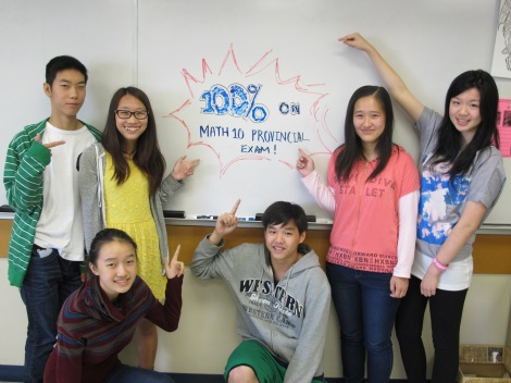 Pre-AP/Incentive & Honours Math Program students who scored 100% on the June 2014 Foundations & PreCalculus Math 10 Provincial Exam
