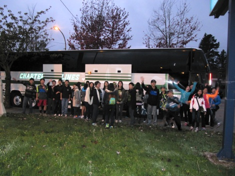 Boarding the charter bus early Wednesday morning for the trip to Camp Squamish.