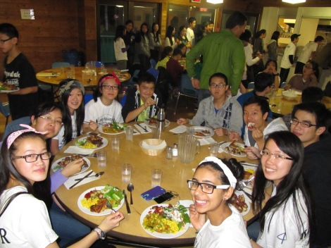 The mentors enjoying a healthy and hearty dinner together.